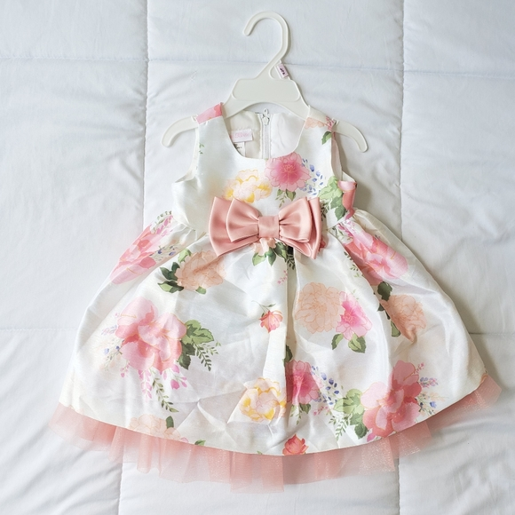 Bonnie Baby Easter Dress 3-6 Months worn once pink white green